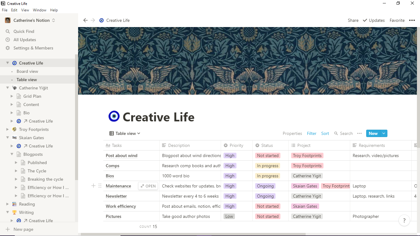 Image of a Notion desktop with menu on the left side, the main area shows a table called Creative Life under a pattern of birds and leaves